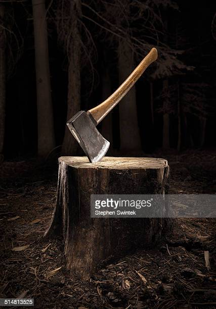 Axe buried into stump in the dark