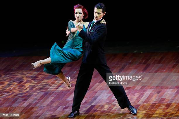 Axel Arakaki and Hebe Hernandez of Argentina dance during the Stage Tango Final as part of Buenos Aires Tango Festival World Championship 2016 at...