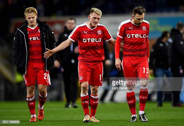 Axel Bellinghausen and Adam Bodzek of Duesseldorf are seen after the Second Bundesliga match between SC Paderborn and Fortuna Duesseldorf at Benteler...