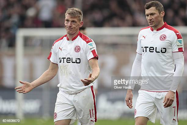 Axel Bellinghausen of Duesseldorf gesticulated during the Second Bundesliga match between FC St Pauli and Fortuna Duesseldorf at Millerntor Stadium...