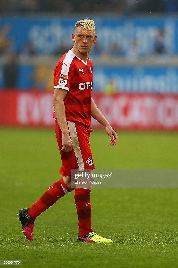 Axel Bellinghausen of Duesseldorf looks dejected during the 2. Bundesliga match between MSV Duisburg and Fortuna Duesseldorf at Schauinsland-Reisen-Arena on April 29, 2016 in Duisburg, Germany.