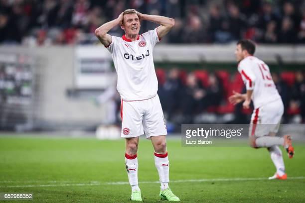 Axel Bellinghausen of Duesseldorf reacts during the Second Bundesliga match between Fortuna Duesseldorf and Eintracht Braunschweig at EspritArena on...