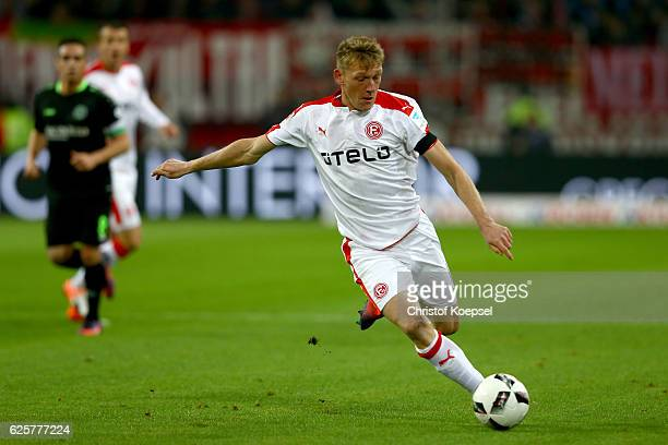 Axel Bellinghausen of Duesseldorf runs with the ball during the Second Bundesliga match between Fortuna Duesseldorf and Hannover 96 at EspritArena on...