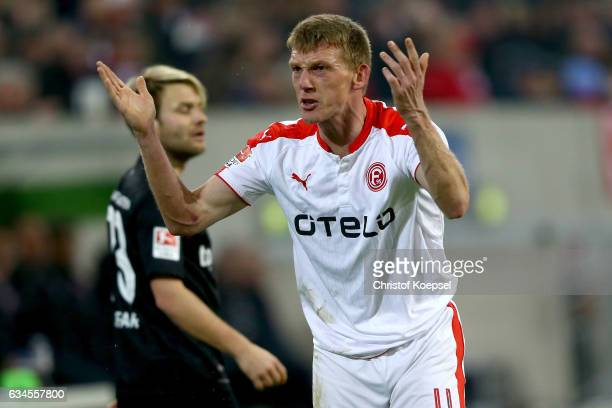 Axel Bellinghausen of Duesseldorf shows emotions during the Second Bundesliga match between Fortuna Duesseldorf and 1 FC Kaiserslautern at...