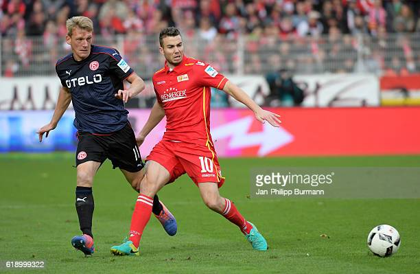 Axel Bellinghausen of Fortuna Duesseldorf and Dennis Daube of 1FC Union Berlin during the game between the 1 FC Union Berlin and Fortuna Duesseldorf...