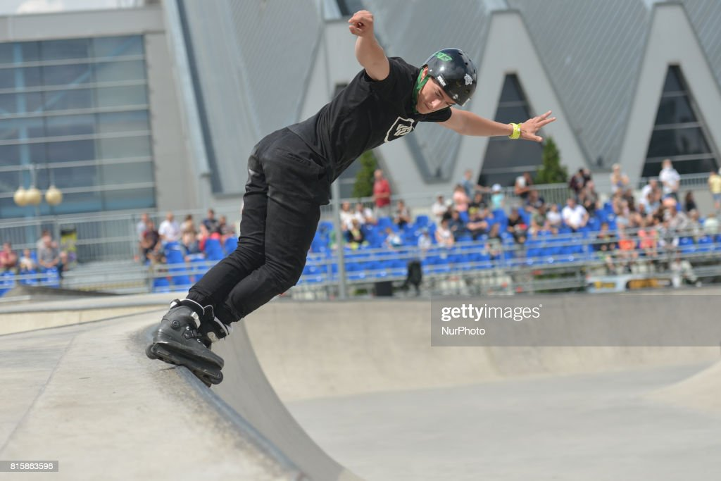 Axel Bihagen during the final of Rollerblading competition, on the final day of Carpatia Extreme Festival 2017, in Rzeszow. On Sunday, July 16, 2017, in Rzeszow, Poland.