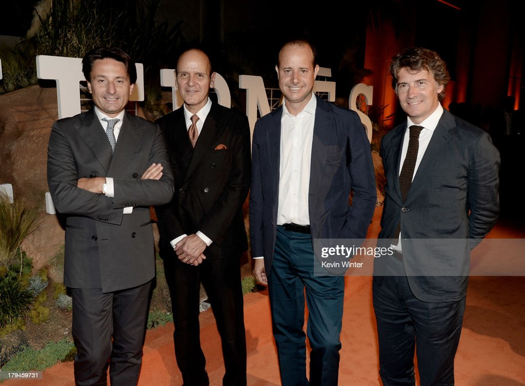 Axel Dumas, CEO, Hermes International, Robert Chavez, President and CEO, Hermes USA, Pierre-Alexis Dumas, Artistic Director, Hermes International and Henri-Louis Bauer, Executive Chairman, Hermes International pose at the after party for the opening of Hermes Beverly Hills Boutique at 3 Labs on September 3, 2013 in Culver City, California.