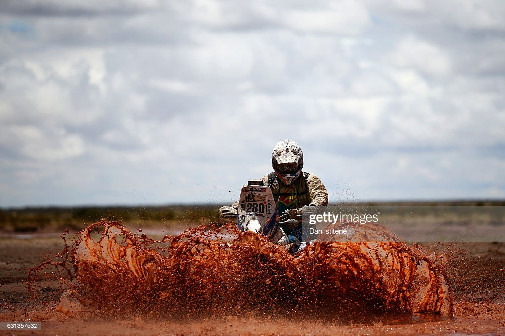 Axel Dutrie of France and Yamaha AL Desert rides a YFZR 450 Yamaha quad bike in the Classe : 4 x 2 0 a 750 cm3 during stage seven of the 2017 Dakar Rally between La Paz and Uyuni on January 9, 2017 at an unspecified location in Bolivia.