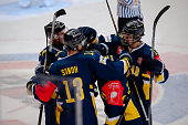 Axel Eidstedt of HV71scores and celebrates with his team during the Champions Hockey League round of thirtytwo game between HV71 Jonkoping and...