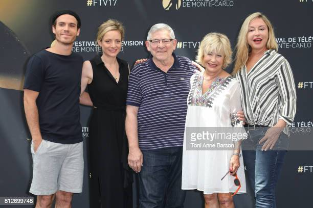 Axel Huet Charlie Bruneau Yves Pignot Marie Vincent and Jeanne Savary attend photocall for 'En Famille' on June 17 2017 at the Grimaldi Forum in...
