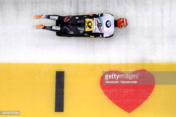 Axel Jungk of Germany competes in the first run of the IBSF World Championships Bob Skeleton 2017 at Deutsche Post Eisarena Koenigssee on February 24...