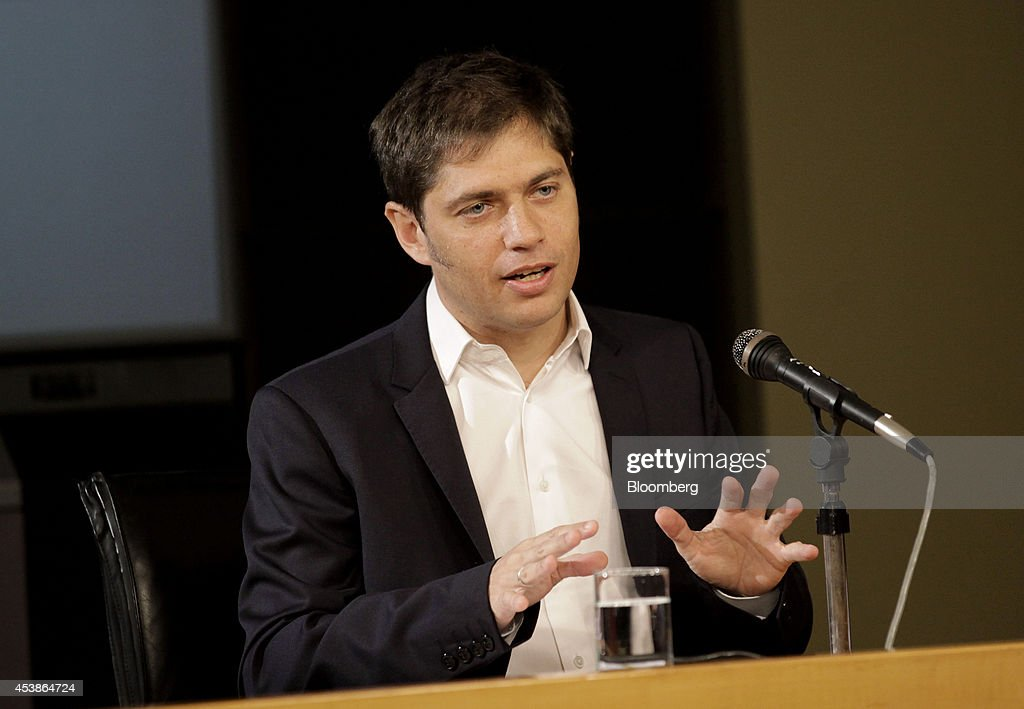 <a gi-track='captionPersonalityLinkClicked' href=/galleries/search?phrase=Axel+Kicillof&family=editorial&specificpeople=9189054 ng-click='$event.stopPropagation()'>Axel Kicillof</a>, economy minister for Argentina, speaks during a news conference in Buenos Aires, Argentina, on Wednesday, Aug. 20, 2014. Kicillof said the government is aware that some bondholders of certain series of debt may be looking to accelerate payments. Photographer: Diego Levy/Bloomberg via Getty Images