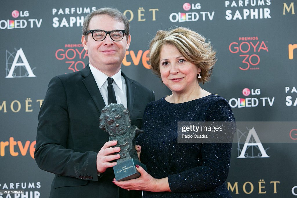 Axel Kuschevatzky and Esther Garcia hold the award for Best Iberoamerican Film award during the 30th edition of the Goya Cinema Awards at Madrid Marriott Auditorium on February 6, 2016 in Madrid, Spain.