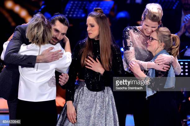 Axel Maximilian Feige Yosefin Buohler Felicia Lu Kuerbiss Isabella 'Levina' Lueen and Helene Nissen react during the 'Eurovision Song Contest 2017...