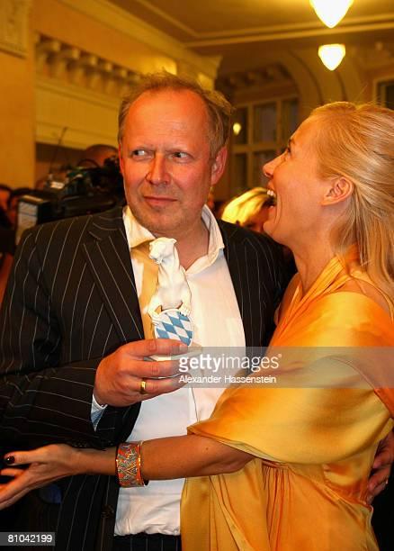 Axel Milberg and Judith Betzler arrive for the Bavarian Television Award 2008 at the Prinzregenten Theatre on 9 May 2009 in Munich Germany