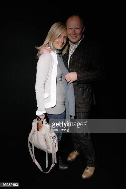 Axel Milberg and Judith Milberg arrive at the Allude Fashion Show during the MercedesBenz Fashion Week Berlin Autumn/Winter 2010 at the Bebelplatz on...