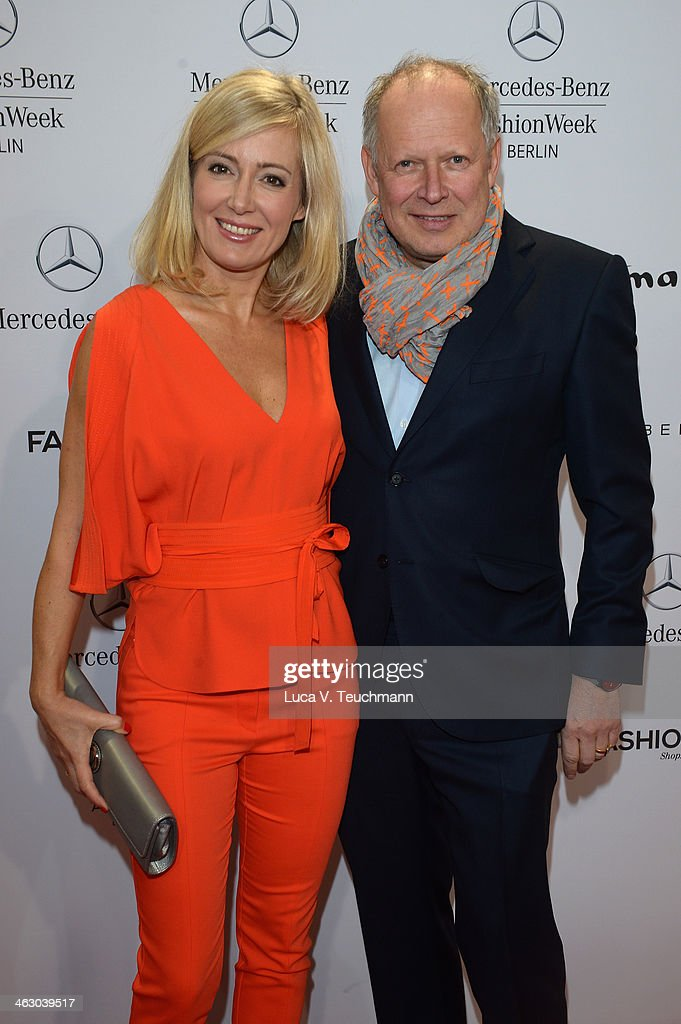 Axel Milberg and Judith Milberg attend the Laurel show during Mercedes-Benz Fashion Week Autumn/Winter 2014/15 at Brandenburg Gate on January 16, 2014 in Berlin, Germany.