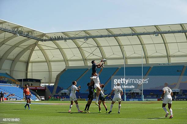 Axel Muller of Argentina takes a lineout during the 2014 Gold Coast Sevens Pool D match between England and Argentina at Cbus Super Stadium on...