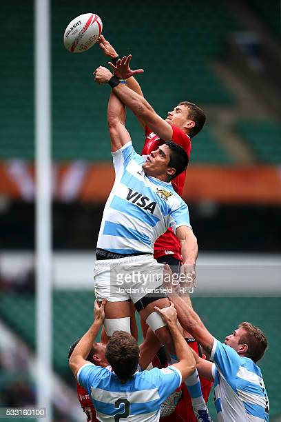 Axel Muller of Argentina wins a lineout during the pool match between Argentina and Russia during day one of the HSBC London Sevens at Twickenham...
