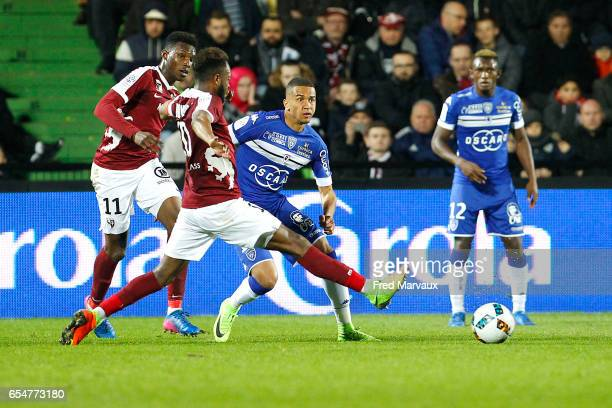 Axel Ngando of Bastia during the Ligue 1 match between Fc Metz and SC Bastia at Stade SaintSymphorien on March 17 2017 in Metz France