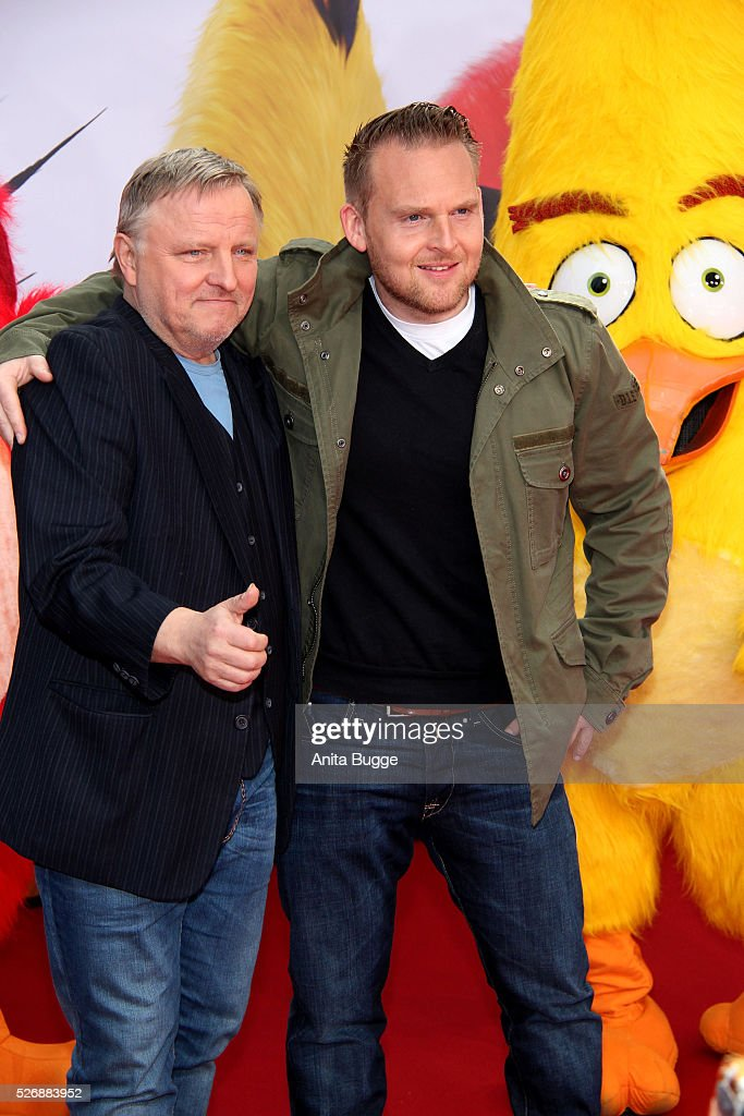 Axel Prahl and Axel Stein attend the Berlin premiere of the film 'Angry Birds - Der Film' at CineStar on May 1, 2016 in Berlin, Germany.