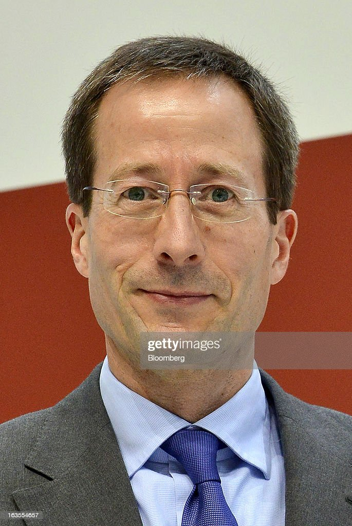 Axel Strotbek, chief financial officer of Audi AG, pauses during the company's earnings news conference at the Audi AG headquarters in Ingolstadt, Germany, on Tuesday, March 12, 2013. Audi AG, the world's second-biggest luxury carmaker, is aiming for a 'slight' increase in revenue this year and reaching an operating margin at the upper end of its long-term target corridor, helped by sales of compact SUVs and the new A3 sedan. Photographer: Guenter Schiffmann/Bloomberg via Getty Images