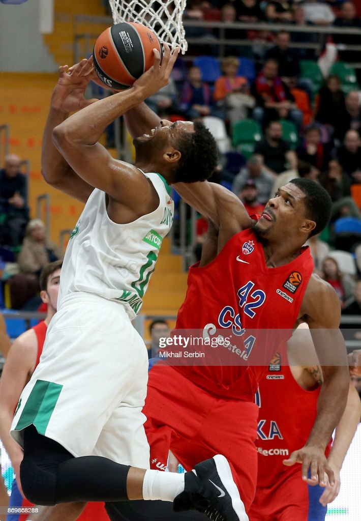 Axel Toupane, #6 of Zalgiris Kaunas competes with Kyle Hines, #42 of CSKA Moscow in action during the 2017/2018 Turkish Airlines EuroLeague Regular Season Round 5 game between CSKA Moscow and Zalgiris Kaunas at Megasport Arena on November 3, 2017 in Moscow, Russia.