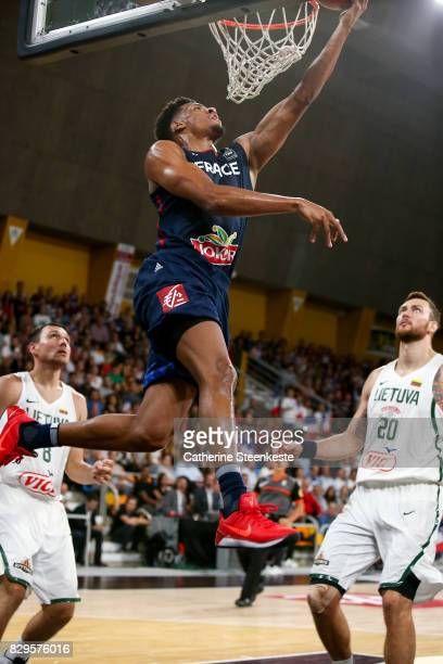 Axel Toupane of France is at the basket during the international friendly game between France v Lithuania at Palais des Sports on August 10 2017 in...