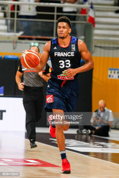Axel Toupane of France is bringing the ball up during the international friendly game between France v Lithuania at Palais des Sports on August 10...