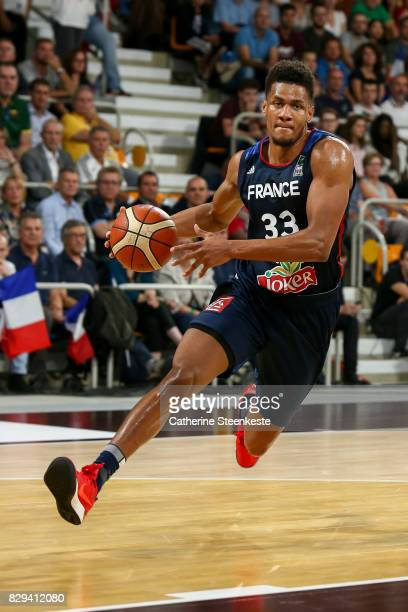 Axel Toupane of France is driving to the basket during the international friendly game between France v Lithuania at Palais des Sports on August 10...