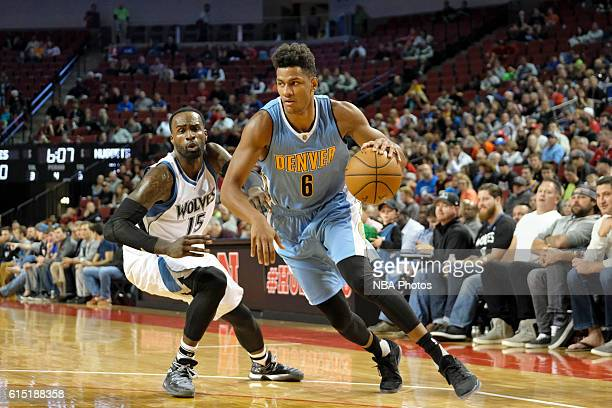 Axel Toupane of the Denver Nuggets drives to the basket against the Minnesota Timberwolves during a preseason game on October 12 2016 at Pinnacle...