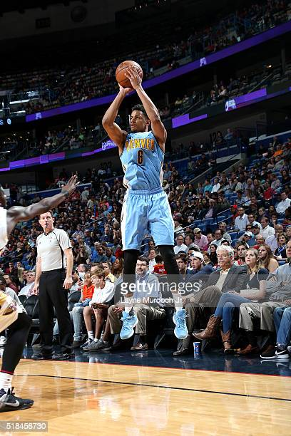 Axel Toupane of the Denver Nuggets shoots the ball during the game against the New Orleans Pelicans on March 31 2016 at the Smoothie King Center in...