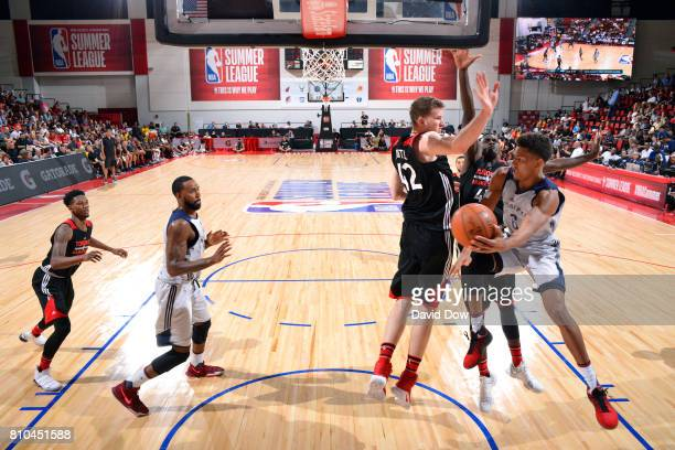 Axel Toupane of the New Orleans Pelicans passes the ball during the game against the Toronto Raptors during the 2017 Las Vegas Summer League on July...