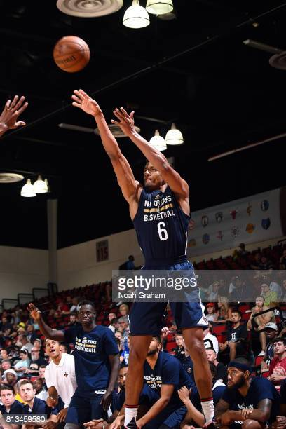 Axel Toupane of the New Orleans Pelicans shoots the ball during the game against the Atlanta Hawks during the 2017 Las Vegas Summer League on July 12...