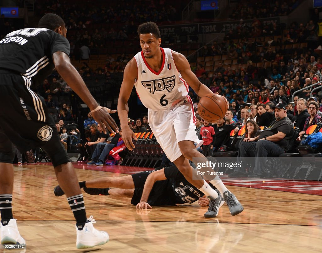 Axel Toupane #6 of the Raptors 905 drives the ball during the game against the Austin Spurs at the Air Canada Centre on March 13, 2017 in Toronto, Ontario, Canada.