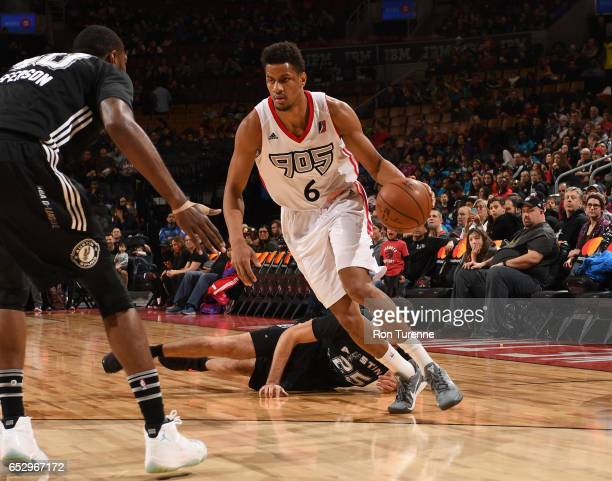 Axel Toupane of the Raptors 905 drives the ball during the game against the Austin Spurs at the Air Canada Centre on March 13 2017 in Toronto Ontario...
