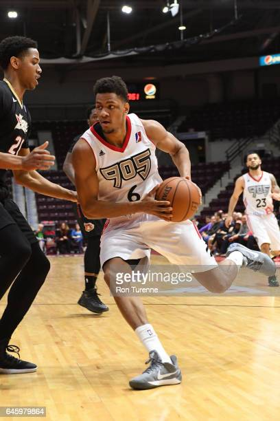 Axel Toupane of the Raptors 905 drives to the basket against the Erie Bayhawks at the Hershey Centre on February 23 2017 in Mississauga Ontario...