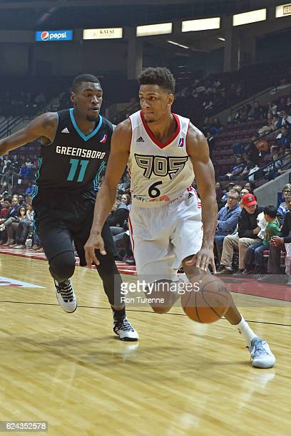 Axel Toupane of the Raptors 905 drives to the basket around Mike Anderson of the Greensboro Swarm on November 18 2016 at the Hershey Centre in...