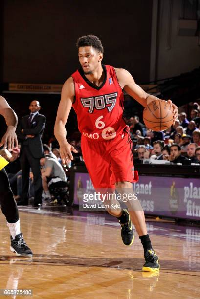 Axel Toupane of the Raptors 905 drives to the hoop against the Canton Charge at the Canton Memorial Civic Center on April 5 2017 in Canton Ohio NOTE...