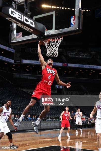 Axel Toupane of the Raptors 905 dunks against the Long Island Nets during an NBA DLeague game on March 19 2017 at Barclays Center in Brooklyn NY NOTE...