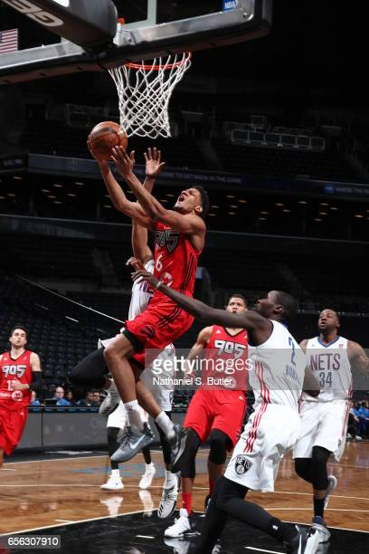 Axel Toupane of the Raptors 905 goes for a lay up against the Long Island Nets during an NBA DLeague game on March 19 2017 at Barclays Center in...