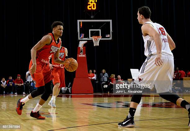 Axel Toupane of the Raptors 905 handle the ball against the Windy City Bulls on January 07 2017 at the Sears Centre Arena in Hoffman Estates Illinois...