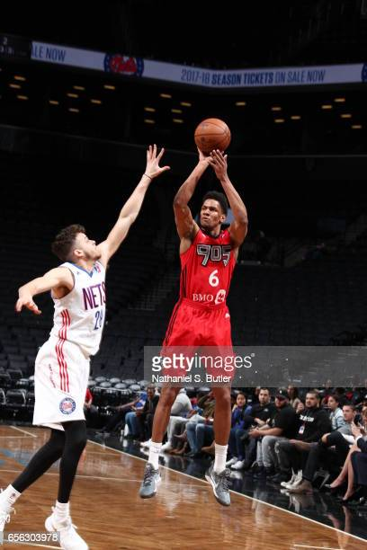 Axel Toupane of the Raptors 905 shoots the ball against the Long Island Nets during an NBA DLeague game on March 19 2017 at Barclays Center in...
