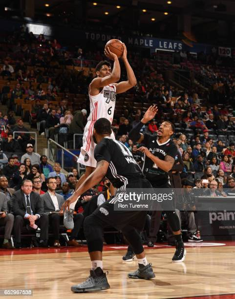 Axel Toupane of the Raptors 905 with a jumper during the game against the Austin Spurs at the Air Canada Centre on March 13 2017 in Toronto Ontario...
