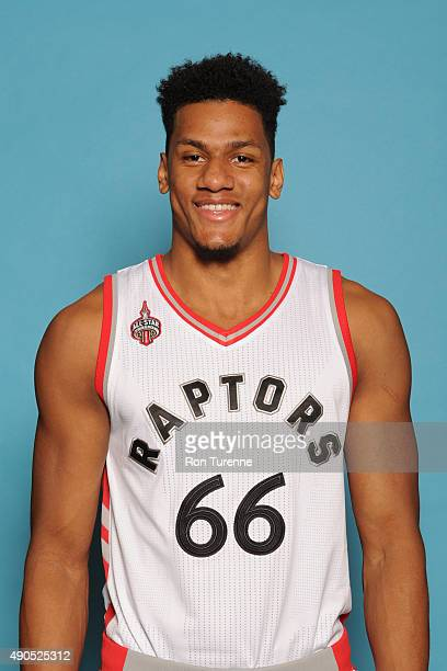 Axel Toupane of the Toronto Raptors poses for a photo during media day on September 28 at the Air Canada Centre in Toronto Ontario Canada NOTE TO...