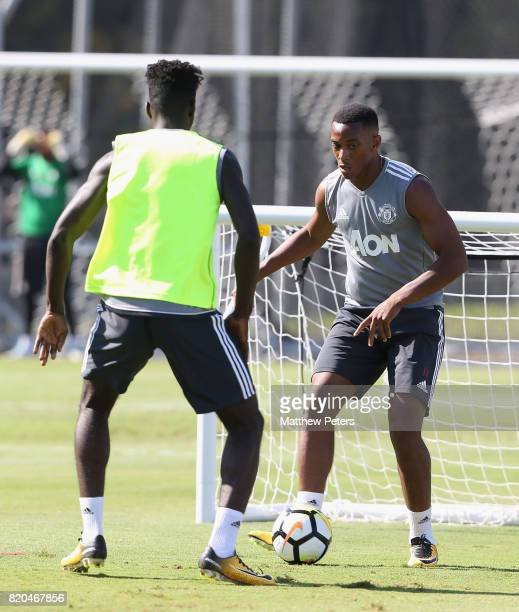 Axel Tuanzebe and Anthony Martial of Manchester United in acton during a first team training session as part of their preseason tour of the USA at...