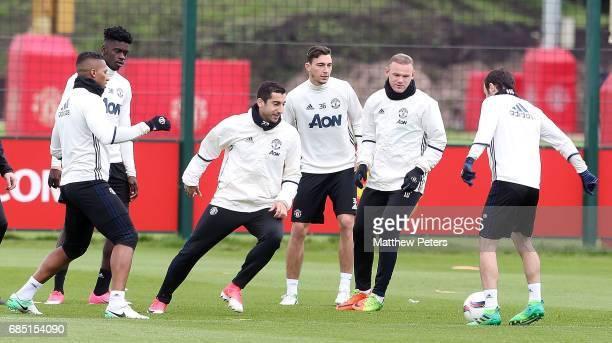 Axel Tuanzebe Antonio Valencia Henrikh Mkhitaryan Matteo Darmian Wayne Rooney and Juan Mata of Manchester United in action during a first team...
