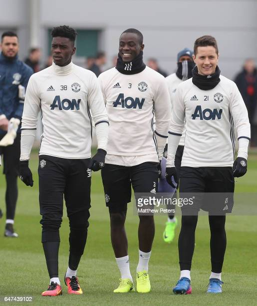 Axel Tuanzebe Eric Bailly and Ander Herrera of Manchester United in action during a first team training session at Aon Training Complex on March 3...