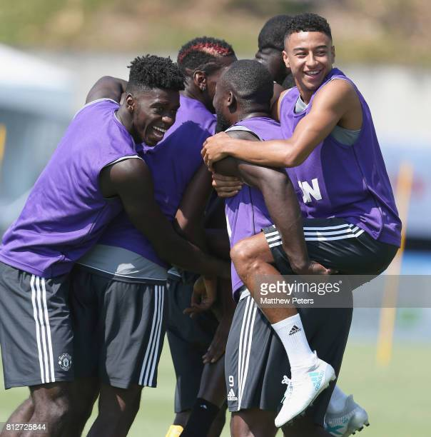Axel Tuanzebe Jesse Lingard Romelu Lukaku Paul Pogba and Eric Bailly of Manchester United in action during a first team training session as part of...