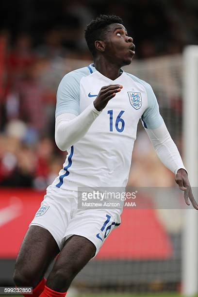 Axel Tuanzebe of England during the International friendly match between England U20 and Brazil U20 at Aggborough Stadium on September 4 2016 in...
